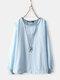 Vintage Solid Color Bubble Sleeve Plus Size Blouse - Light Blue