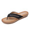 Rhinestone Clip Toe Holiday Hollow Out Flip Flops Beach Slippers - Black