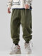 Mens Corduroy Solid Color Drawstring Cuff Jogger Pants With Pocket - Army Green