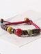Vintage Ethnic Geometric-shape Beaded Braided Ceramics Alloy Elastic Rope Bracelets - #01