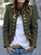 Solid Color Botton Pockets Casual Blazer for Women - Green