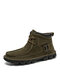 Menico Men Hand Stitching Classic Work Style Lace Up Ankle Boots - Green