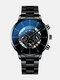 Business Men Watch Steel Band Waterproof Calendar Quartz Watch - Blue Needle Black Band