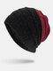मेन विंटर Plus मखमली धारीदार पैटर्न आउटडोर लंबे बुना हुआ गर्म बेनी टोपी - लाल शराब