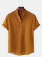 Mens Breathable Flax Stand Collar Short Sleeve Solid Henley Shirt - Brown