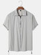 Mens Solid Color Zipper Drawstring Sun Protection Clothing Five-point Sleeve Shirt - Gray