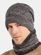 Men 2PCS Plus Velvet Thick Winter Outdoor Neck Protection Headgear Scarf Knitted Hat Beanie - Gray