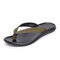 Men Cow Leather Slip Resistant Soft Sole Clip Toe Casual Slippers - Green