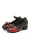 SOCOFY Ethnic Flowers Decor Genuine Leather Non Slip Buckle Strap Chunky Heel Comfy Pumps - Black