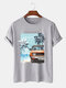 Mens Tropical Landscape Graphic Holiday Short Sleeve 100% Cotton T-Shirts - Gray