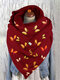 Women Dacron Colorful Butterfly Pattern Print With Buckle Casual Thicken Warmth Shawl Scarf - Red