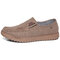 Men Old Peking Comfy Breathable Soft Walking Canvas Shoes - Coffee
