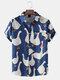 Mens Cartoon Goose Print Button Up Short Sleeve Shirts With Pocket - Dark Blue