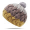 Women Winter Warm Stitching Beanie Hat With Fur Pompom Windproof Ear Warm Knitted Hat - Yellow