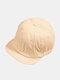 Unisex Cotton Solid Color Soft Short Brim Drawstring Fashion Baseball Caps - Beige