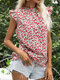 Floral Print O-neck Ruffle Short Sleeve Button Women Blouse - Red