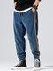 メンズコーデュロイサイドストライプカジュアルルーズドローストリングビームフィートパンツ - 青