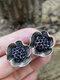 Vintage Stereoscopic Flowers Earrings Inlaid Diamond Large Ear Stud - #01