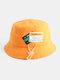 Unisex Cotton Drawstring Letter Pattern Label Solid Color Fashion Bucket Hat - Orange