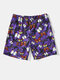 Mens All Over Butterfly Print Pocket Quick Dry Swim Trunk - Purple