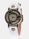 Vintage Thin Band Women Wrist Watch Three Roses Hollow Dial Quartz Watch - White