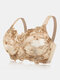 Plus Size Push Up Embroidery Lightly Lined Gather Bras - Nude