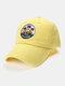 Unisex Cotton Embroidery Pattern Curve Brim Sunshade Fashion Baseball Hat - Yellow