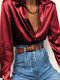 Elegant Solid Color Long Sleeve Basic Satin Plus Size Shirt For Women - Wine Red
