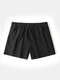 Pure Color Cotton Lounge Trunks Breathable Gym Running Sport Shorts With Pockets - Black