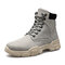 Men Stylish Microfiber Leather Lace Up Casual Ankle Boots - Grey