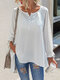 Solid Color O-neck Long Sleeves Casual Loose Blouse For Women - White