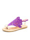 Women Summer Clouds Hollow Clip Toe Hasp Pearl Inlay Flat Sandals - Purple