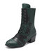 Women Retro Stitching Patched Comfy Wearable Chunky Heel Lace Up Zipper Short Boots - Green