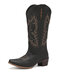 Women Casual Electric Embroidery Pattern Slip On Knee High Riding Boots - Black
