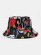 Unisex Double-Sided Rose Flower Skeleton Pattern Fashion Sunshade Cotton Bucket Hat - Black