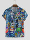 Mens Cartoon Graffiti Printed Turn Down Collar Short Sleeve Shirts - Blue