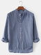 Mens Cotton Regular Fit Solid High Low Hem Henley Shirts With Long Sleeve - Blue