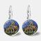 Vintage Geometric Round Oil Painting Series Earrings Metal Glass Gem Daisy Pendant Ear Clips - 7
