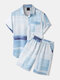 Mens Ombre Print Button Up Casual Two Pieces Outfits With Pocket - Blue