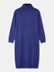 Women Solid Color High Neck Long Sleeve Knitted Casual Dress - Blue