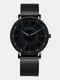 6 Colors Men Business Watch Adjustable Alloy Mesh Band Luminous Quartz Watch - Blue Pointer Black Band