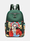 Chinese Style Oxford Cartoon Figure Print Pattern Exquisite Hardware Design Fine Texture Fabric Waterproof Wearable Backpack - Green