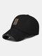 メンズウィンターハット厚手カジュアル防寒イヤープロテクションキャップウールベースボールキャップ - ブラック