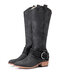 Women Pointed Toe Chunky Heel Hollow Out Quilting Retro Elegant Mid-Calf Cowboy Boots - Black