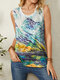 Landscape Print O-neck Sleevless Casual Tank Top For Women - Blue
