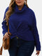 Plain Knotted High Neck Pleated Plus Size Knit Sweater - Navy