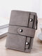Women Spring Vintage Money Clips Coin Multi-card Slots Rivet Trifold Wallet Purse - Gray