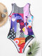 Women Colorful Abstract Figure Print High Neck Slimming One Piece Swimwear - Purple