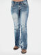 Beading Solid Color Mid Waist Casual Jeans For Women - Blue