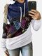 Butterfiles Print Patchwork High Neck Drawstring Plus Size Hoodie - Navy